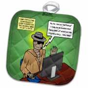 Invisible Man Internet Dating and Web Catfishing Potholder
