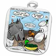 Isaiah 65 17 25 Cheese Tofu Bugers in Paradise Bible earth heaven paradise wolf sheep lamb lion Potholder