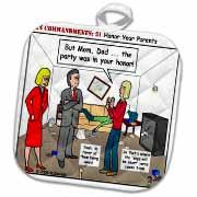Ten Commandments 5 Honor Your Parents Potholder