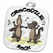 Out to Lunch Cartoon Crocodile Rock Potholder