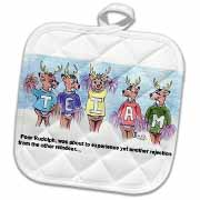 Kevin Edler Cartoon about Rudolphs Troubles for Christmas Potholder