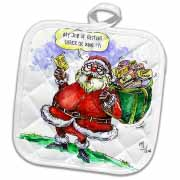 VAL Cartoon about Gift Card Giving for Christmas Potholder