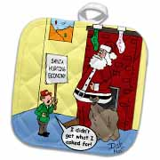 Dale Hunt - Santa Contributes to the Bad Economy Potholder