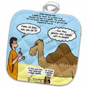 Mark 10-17-31 Stupid Animal Tricks - Camel through the Eye of a Needle Parable Potholder