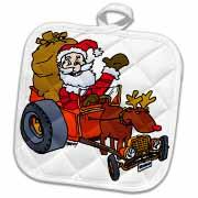 Nelson Deweys Reindeer Powered Santa Dragster Sleigh Potholder