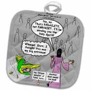 John 16 12 - 15 Jesus discusses sending paraclete which confuses a parakeet Potholder