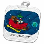 Nelson Dewey - Alien Craft Resembles Santas Sleigh Potholder