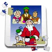 Larry Miller - Tribute to the Baby Jesus by the 3 Wisemen and Santa Puzzle