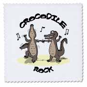Out to Lunch Cartoon Crocodile Rock Quilt Square