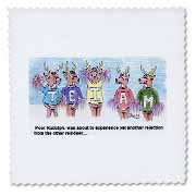 Kevin Edler Cartoon about Rudolphs Troubles for Christmas Quilt Square