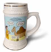 Mark 10-17-31 Stupid Animal Tricks - Camel through the Eye of a Needle Parable Stein Mug