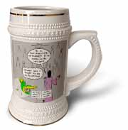 John 16 12 - 15 Jesus discusses sending paraclete which confuses a parakeet Stein Mug