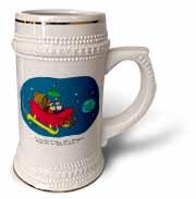 Nelson Dewey - Alien Craft Resembles Santas Sleigh Stein Mug