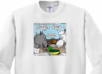 Isaiah 65 17 25 Cheese Tofu Bugers in Paradise Bible earth heaven paradise wolf sheep lamb lion Sweatshirt
