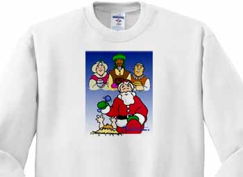 Larry Miller - Tribute to the Baby Jesus by the 3 Wisemen and Santa Sweatshirt