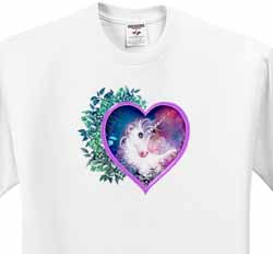 A sweet unicorn forever held within a floral heart of love T-Shirt