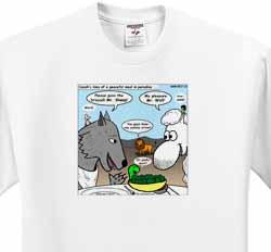 Isaiah 65 17 25 Cheese Tofu Bugers in Paradise Bible earth heaven paradise wolf sheep lamb lion T-Shirt