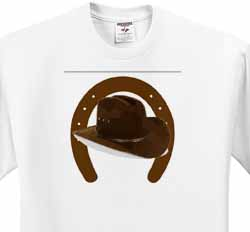 Large Brown Horseshoe With Brown Cowboy Hat T-Shirt