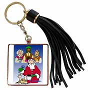 Larry Miller - Tribute to the Baby Jesus by the 3 Wisemen and Santa Tassel Key Chain