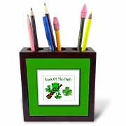 Hat Shillelagh Clover Tile Pen Holder