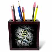 WAITING spider arachne arachnoid yellow black hunting spiderweb DarkArt fear phobia arachnophobia Tile Pen Holder