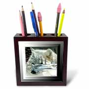 Spirit Of The Wilderness White Wolf Tile Pen Holder