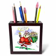 VAL Cartoon about Gift Card Giving for Christmas Tile Pen Holder