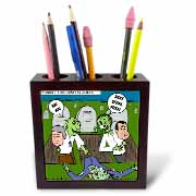 Halloween - Zombie Practical Jokes - Clinton and Nixon Masks Tile Pen Holder