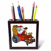 Nelson Deweys Reindeer Powered Santa Dragster Sleigh Tile Pen Holder