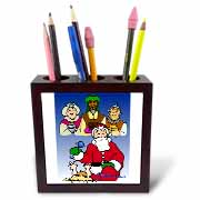 Larry Miller - Tribute to the Baby Jesus by the 3 Wisemen and Santa Tile Pen Holder