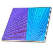 Purple Blue Palm Leaves Tile