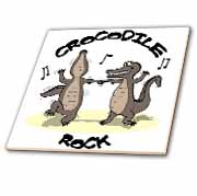 Out to Lunch Cartoon Crocodile Rock Tile