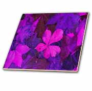 Tattered Pink Purple Leaves  Tile