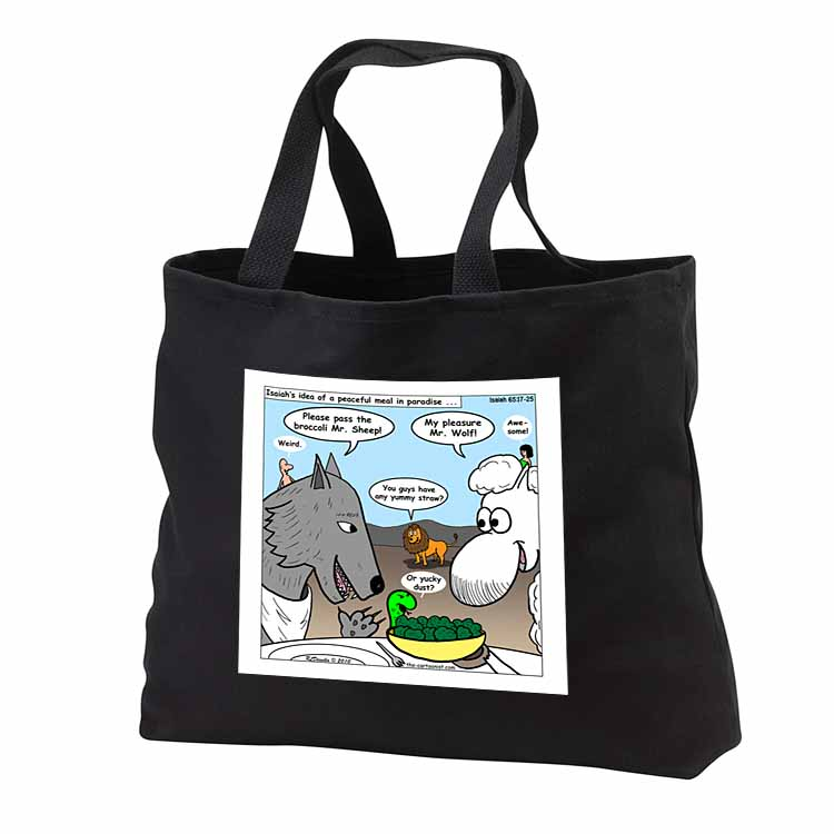 Isaiah 65 17 25 Cheese Tofu Bugers in Paradise Bible earth heaven paradise wolf sheep lamb lion Tote Bag