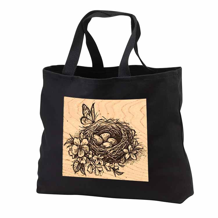Butterfly on Birds Nest with Eggs Tote Bag