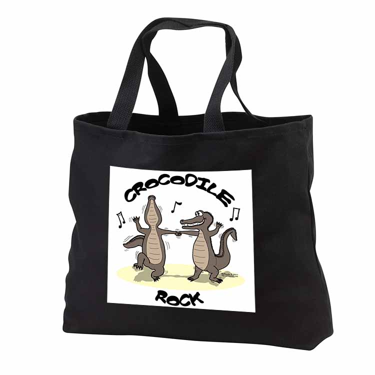 Out to Lunch Cartoon Crocodile Rock Tote Bag