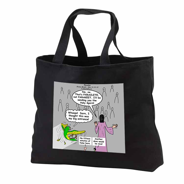 John 16 12 - 15 Jesus discusses sending paraclete which confuses a parakeet Tote Bag