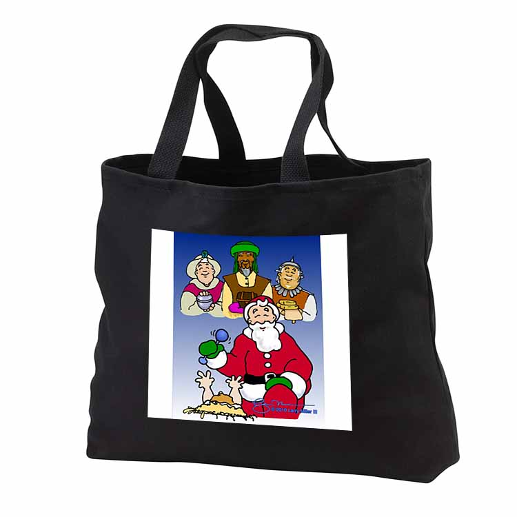 Larry Miller - Tribute to the Baby Jesus by the 3 Wisemen and Santa Tote Bag