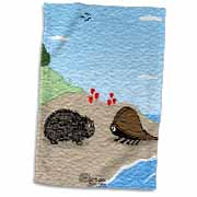 Porcupine Meets Horseshoe Crab - love at first sight Towel
