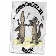 Out to Lunch Cartoon Crocodile Rock Towel