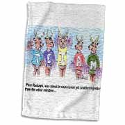 Kevin Edler Cartoon about Rudolphs Troubles for Christmas Towel