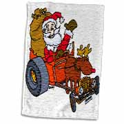 Nelson Deweys Reindeer Powered Santa Dragster Sleigh Towel