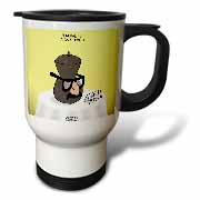 Funeral for a Cartoonist - Groucho Glasses on an Urn Travel Mug