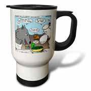 Isaiah 65 17 25 Cheese Tofu Bugers in Paradise Bible earth heaven paradise wolf sheep lamb lion Travel Mug