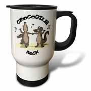 Out to Lunch Cartoon Crocodile Rock Travel Mug
