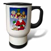 Larry Miller - Tribute to the Baby Jesus by the 3 Wisemen and Santa Travel Mug