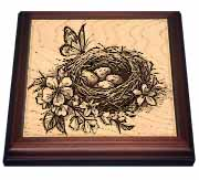 Butterfly on Birds Nest with Eggs Trivet