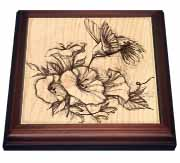 Hummingbird and Petunias Trivet
