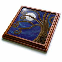 Spiral Tree Abstract Moon Night Digital Art Trivet