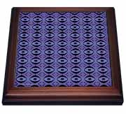 Sapphire Eyes Tribal Batik Abstract Geometric Pattern Textile Trivet